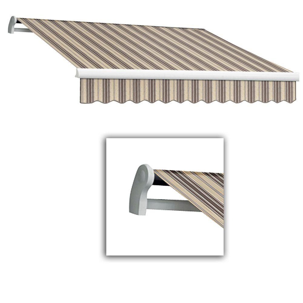 AWNTECH 14 ft. Maui-LX Left Motor Retractable Acrylic Awning with Remote (120 in. Projection) in Taupe Multi