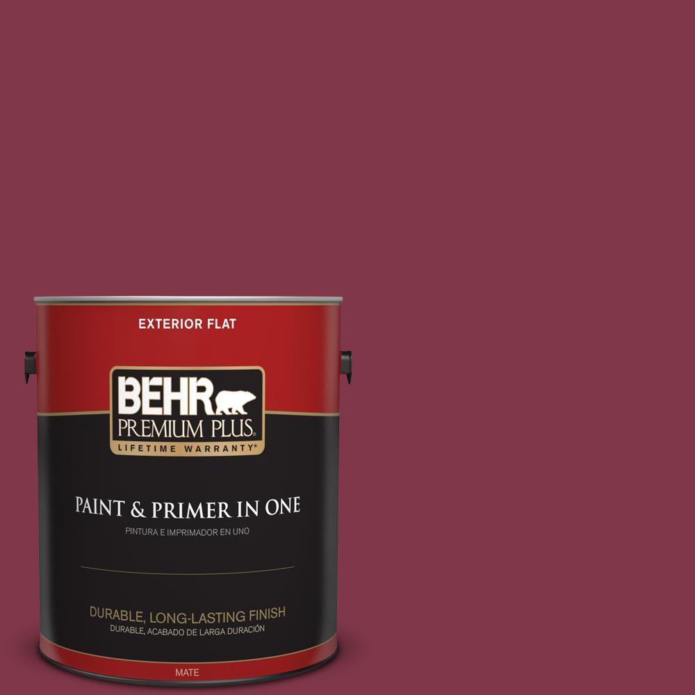 BEHR Premium Plus 1-gal. #120D-7 Ruby Red Flat Exterior Paint