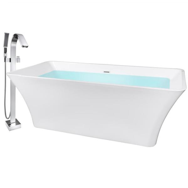 Akdy 67 In Glossy White Acrylic Tub For Bathtub With Tub Filler Combo Modern Flat Bottom Stand Alone Tub Bt0066 27 The Home Depot