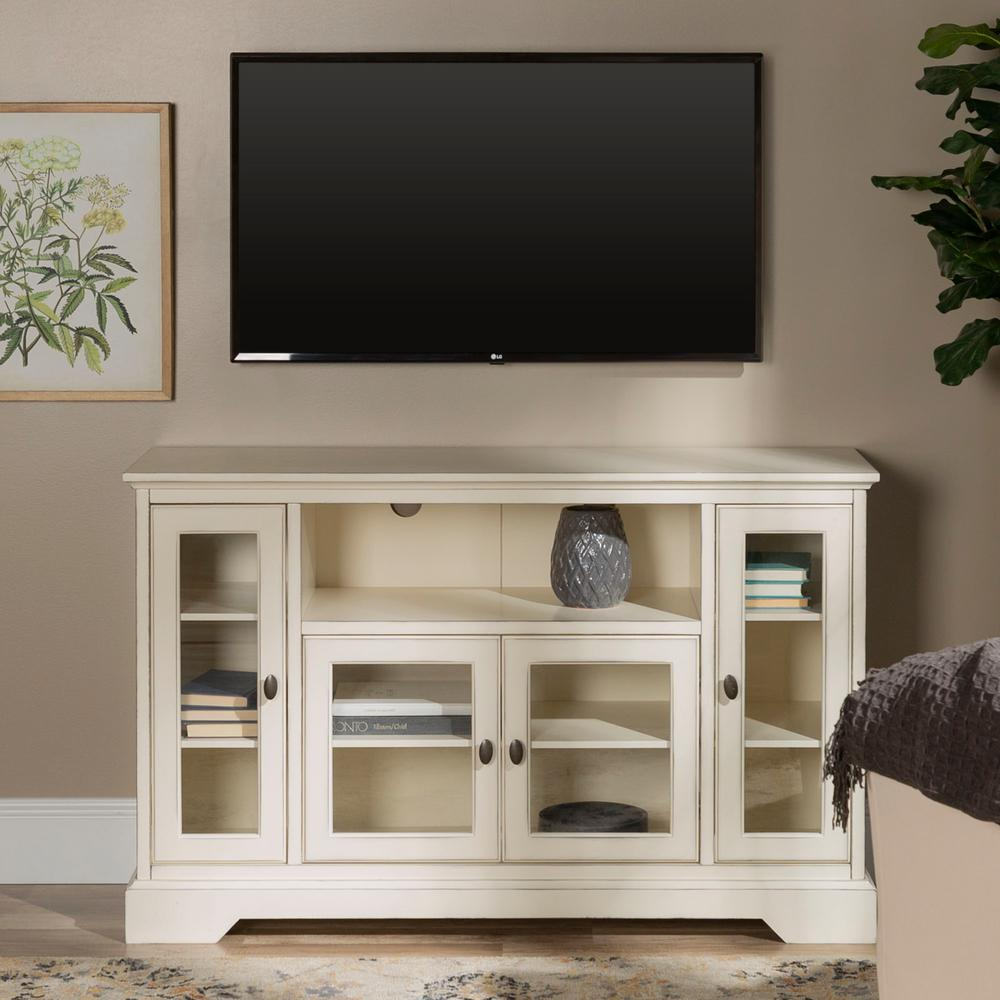 Walker Edison Furniture Company Highboy 52 in. Antique White Wood TV Cabinet 55 in. with Glass Doors was $453.51 now $310.62 (32.0% off)
