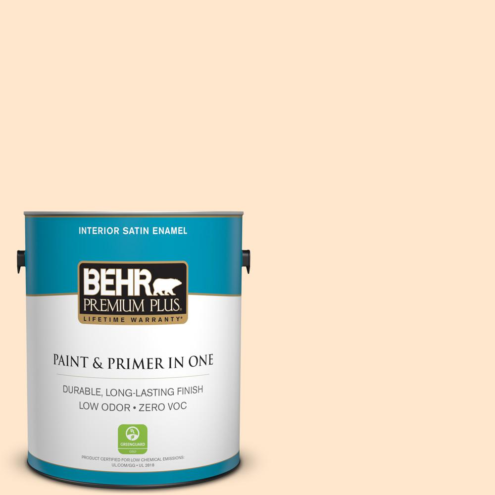 BEHR Premium Plus 1-gal. #310C-1 Kansas Grain Zero VOC Satin Enamel Interior Paint