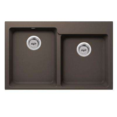 Dual Mount Quartz 33 in. 0-Hole 50/50 Offset Double Bowl Kitchen Sink in Mocha Brown