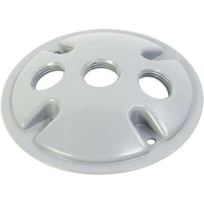 Weatherproof Electrical Box Round Cover with Three 1/2 in. Holes - White