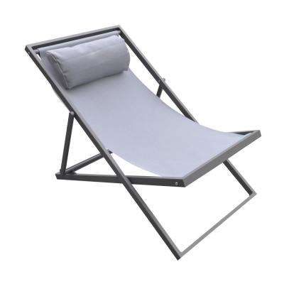 Wave Grey Powder Coated Aluminum Patio Lounge Chair with Grey Sling Textilene