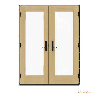 60 in. x 80 in. W-4500 Black Clad Wood Right-Hand Full Lite French Patio Door w/Unfinished Interior