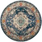 Monaco Navy/Light Blue 5 ft. x 5 ft. Round Area Rug