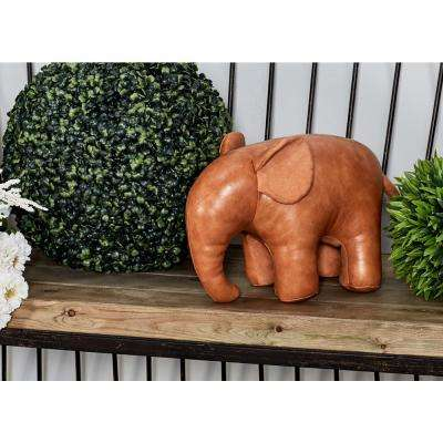 Brown Polyurethane Leather and Cotton Elephant Door Stopper