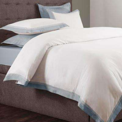 Denzel White and Blue Queen Duvet Set
