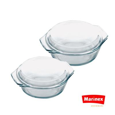 Celebrity 4-Piece Round Glass Casserole Set with Lids