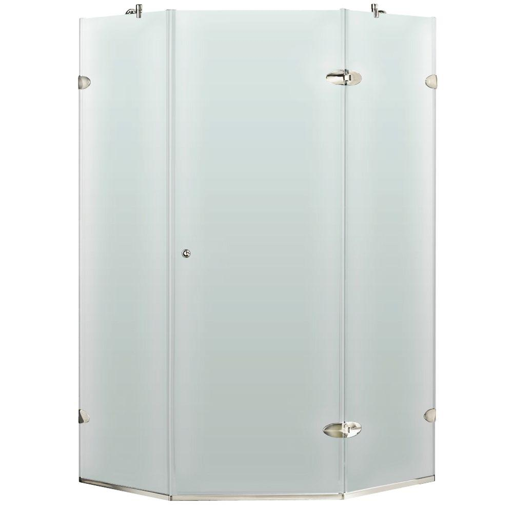 Vigo 40 in. x 73 in. Frameless Neo-Angle Shower Enclosure in Chrome with Frosted Glass