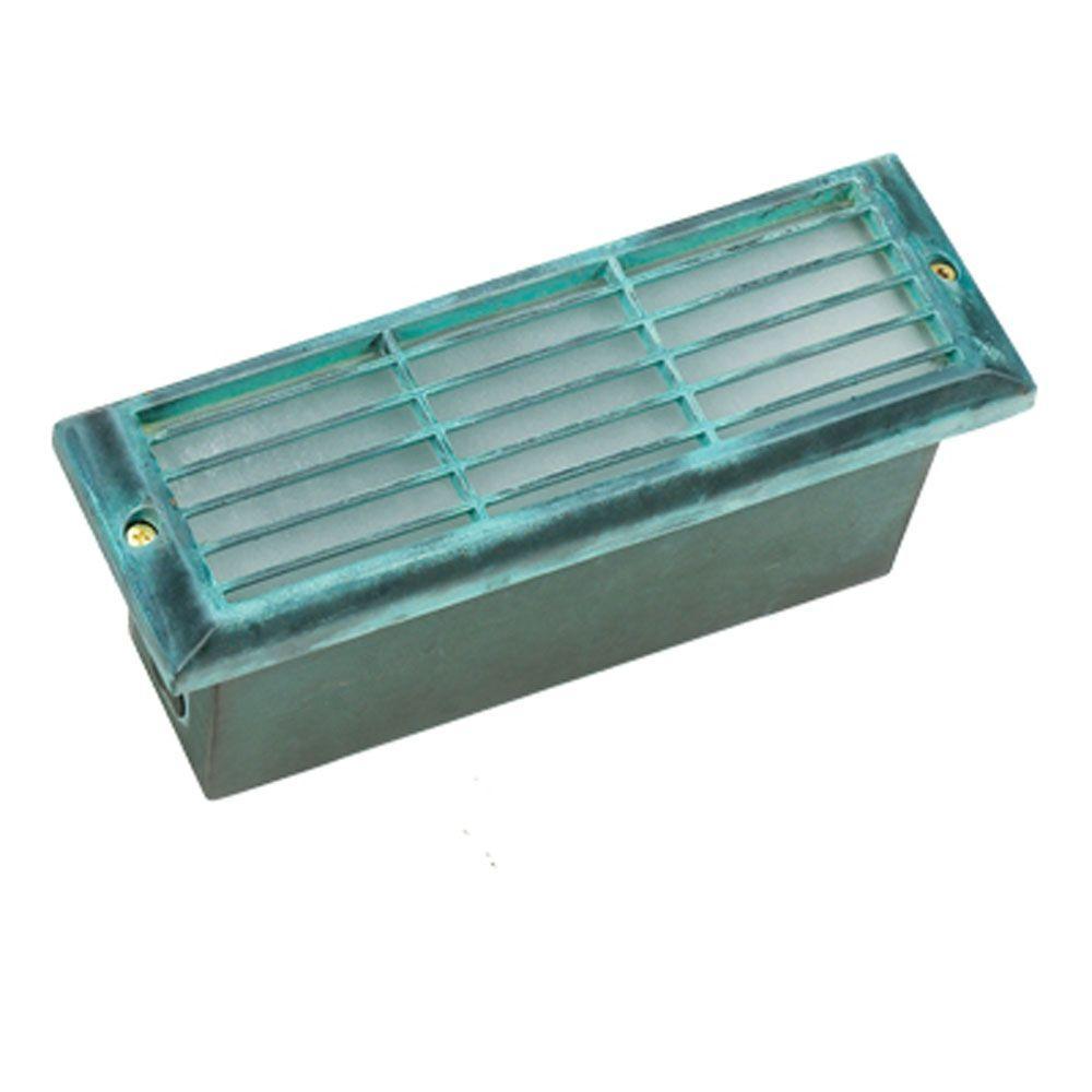 1-Light Verde Green Die Cast Brass Brick Step Light