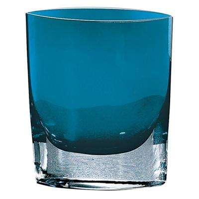 8 in. Samantha Peacock Blue European Mouth Blown Thick Walled Decorative Vase