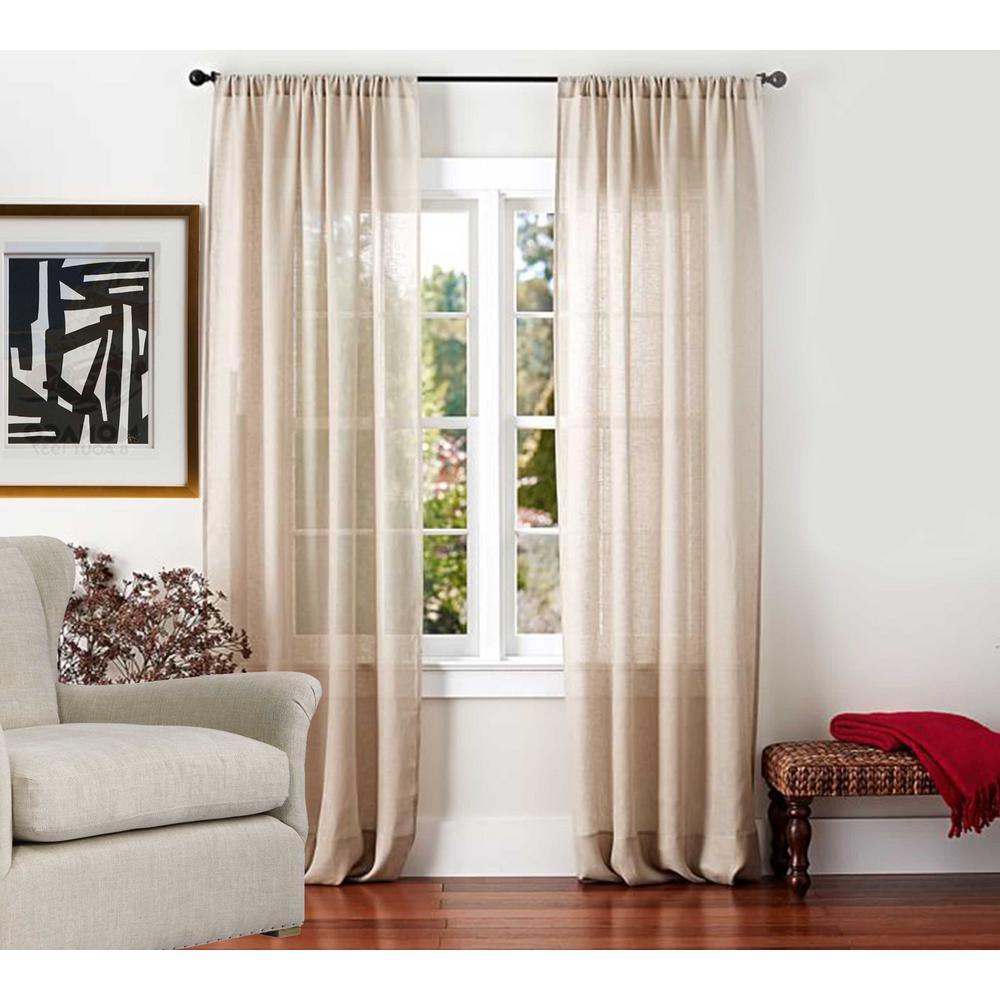 Sheer Linen Drape in Light Beige - 50 in. x 96 in.