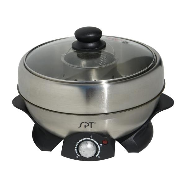 Shabu-Shabu 3 Qt. Stainless Steel Electric Multi-Cooker with Stainless Steel Pot
