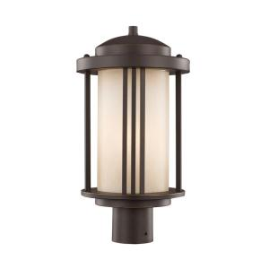 Crowell 1-Light Outdoor Antique Bronze Post Light with LED Bulb