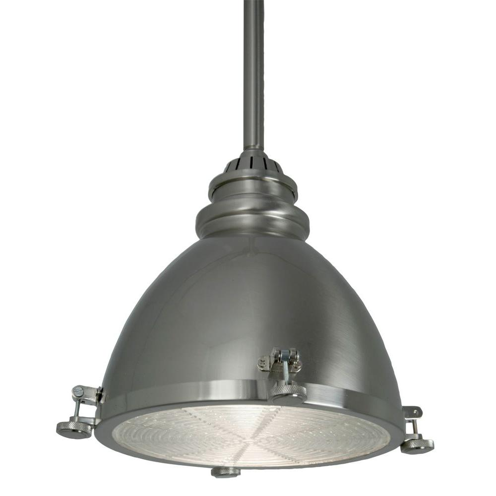 Home Decorators Collection 1-Light Brushed-Nickel Ceiling Metal Dome Pendant
