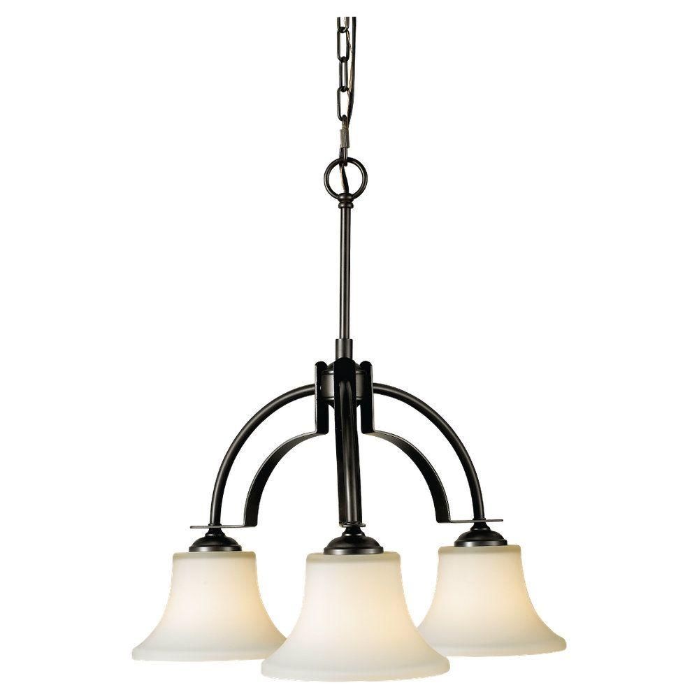 Barrington 3-Light Oil Rubbed Bronze Chandelier with Opal Etched Glass Shade