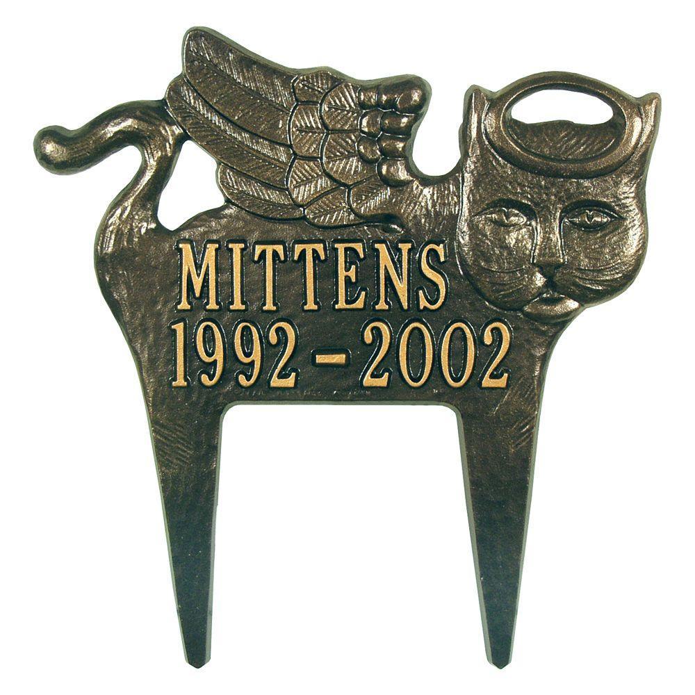 Bronze/Gold Angel-Cat Pet Memorial