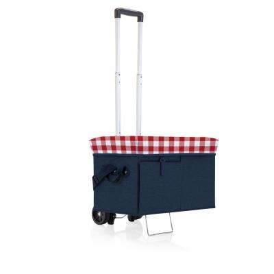 18 Qt. Navy with Red Gingham Print Ottoman Cooler and Seat with Trolley