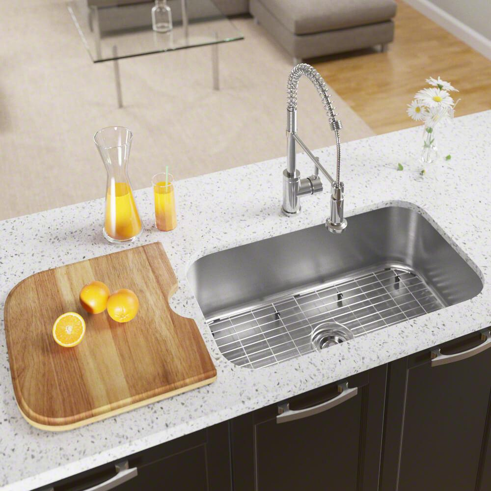 MR Direct All-in-One Undermount Stainless Steel 32 in. Single Bowl Kitchen  Sink