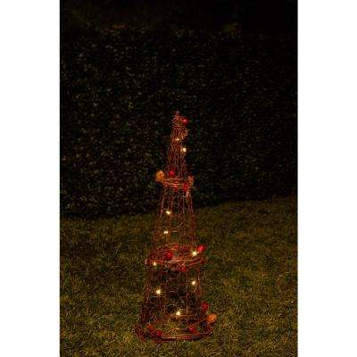 Christmas Rattan Light-up Cone Tree Decor