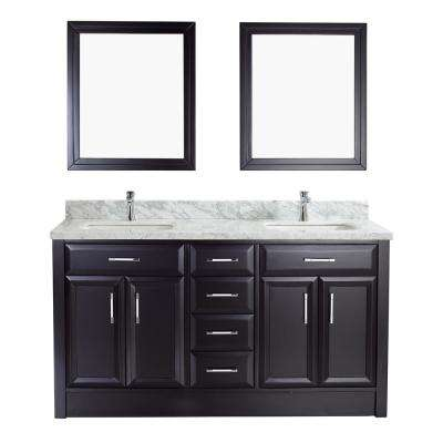 Calais 63 in. W x 22 in. D Vanity in Espresso with Marble Vanity Top in Gray with White Basin and Mirror