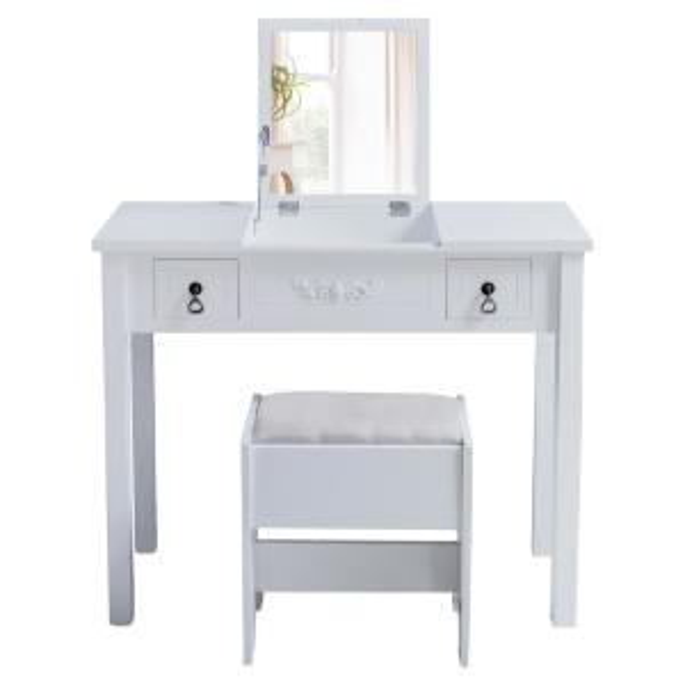 Boyel Living Vanity Set Dressing White Table Cushioned ...