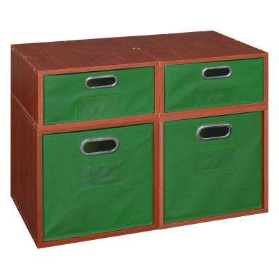 Cubo 13 in. x 32.5 in. Cherry 2 Full-Cube and 1 Half-Cube Organizer with Green Foldable Storage Bins