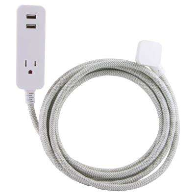 10 ft. Decor Extension Cord with 2 USB Charging Ports 2.4 Amp 1 Grounded Outlet Surge Protection, Grey/White