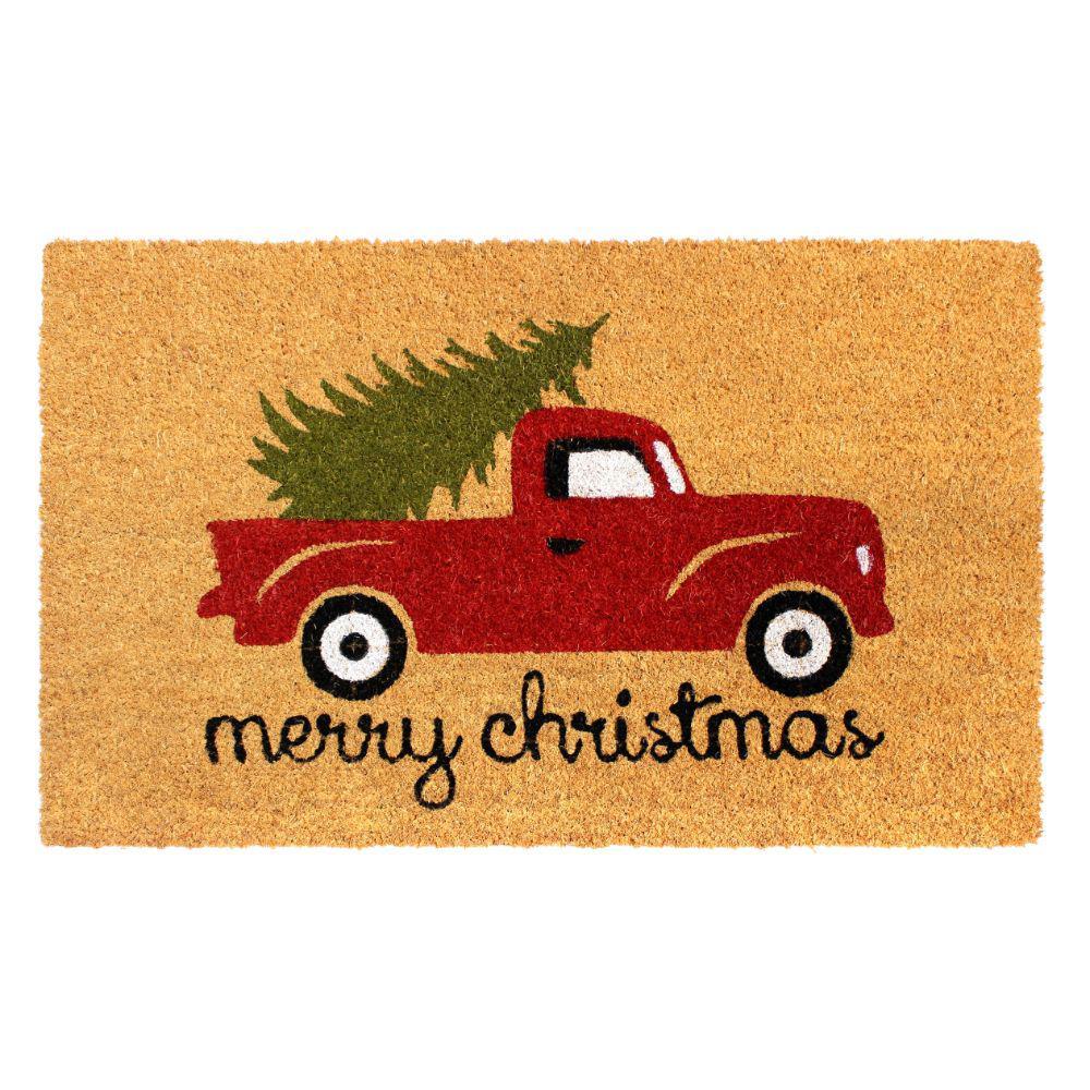 Green 18 In X 30 In Merry Christmas Truck Coir Doormat Dm5335 The Home Depot