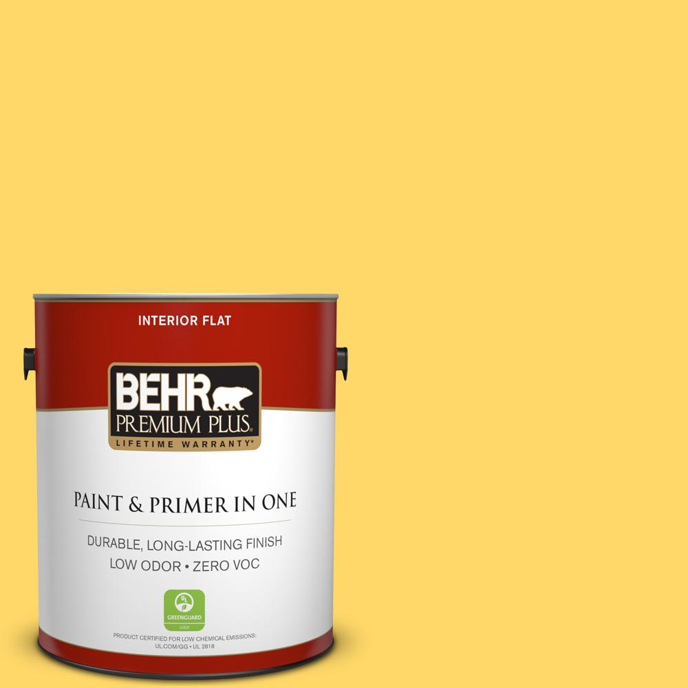 BEHR Premium Plus 1 gal. #360B-5 Citrus Flat Zero VOC Interior Paint and Primer in One