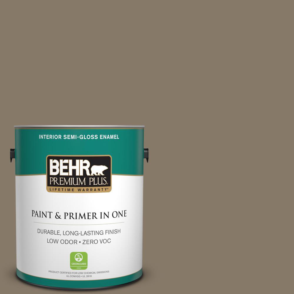 1-gal. #740D-6 Mountain Elk Zero VOC Semi-Gloss Enamel Interior Paint