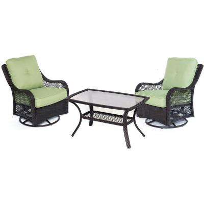 Orleans 3-Piece Wicker Patio Conversation Set with Avocado Green Cushions