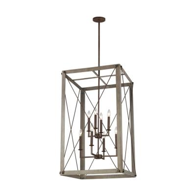 Thornwood Large 8-Light Washed Pine and Weathered Iron Accents Hall/Foyer Pendant with Dimmable Candelabra LED Bulb