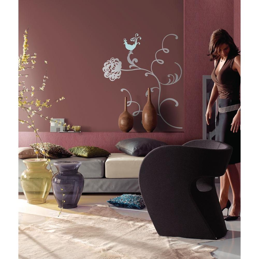 Snap 39.75 in. x 17.25 in. Multi-Colored Floral Wall Decal