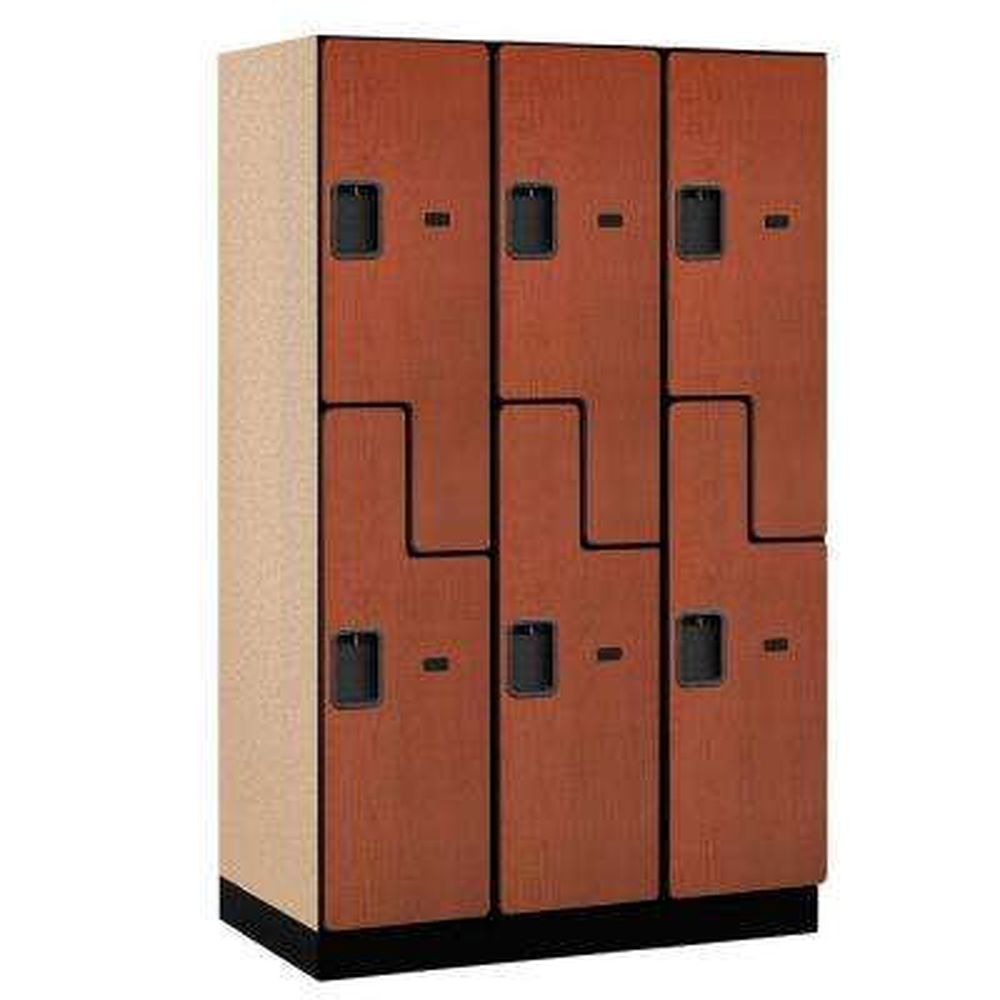 27000 Series 2-Tier 'S-Style' Wood Extra Wide Designer Locker in Cherry - 15 in. W x 76 in. H x 21 in. D (Set of 3)