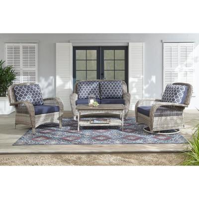 Beacon Park Gray Wicker Outdoor Patio Swivel Lounge Chair with Standard Midnight Trellis Navy Blue Cushions