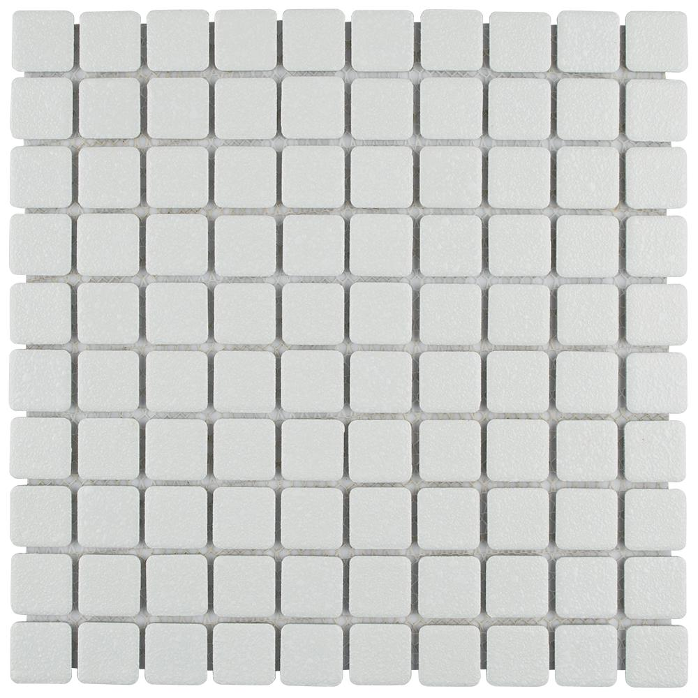 Merola Tile Crystalline Square White 11-3/4 in. x 11-3/4 in. x 5 mm Porcelain Mosaic Tile