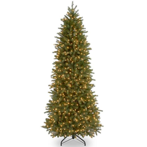 12 ft. Jersey Fraser Fir Pencil Slim Artificial Christmas Tree with Clear Lights