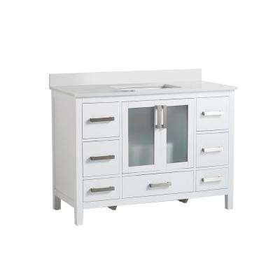 21 in. W x 34 in. D x 47 in. H Vanity with Vanity Top in White with White Basin