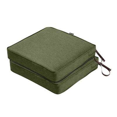 Montlake FadeSafe 19 in. L x 19 in. W x 3 in. Thick Heather Fern Green Square Outdoor Seat Cushion (2-Pack)