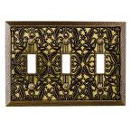 Filigree 3 Gang Toggle Metal Wall Plate - Antique Brass