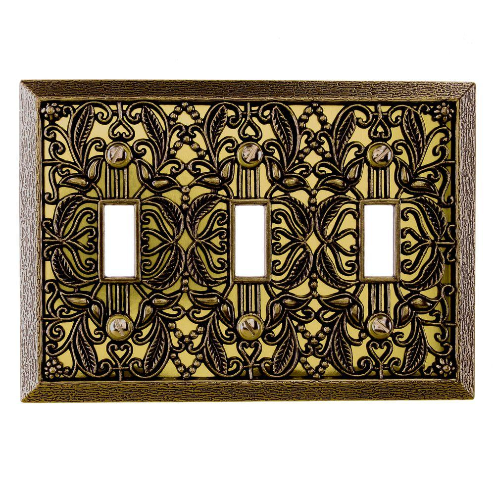 Amerelle Filigree 3 Toggle Wall Plate - Antique Brass
