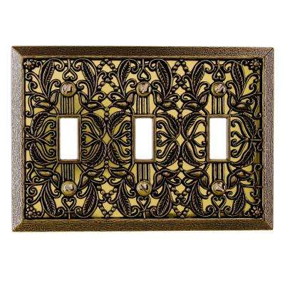 Filigree 3 Toggle Wall Plate - Antique Brass