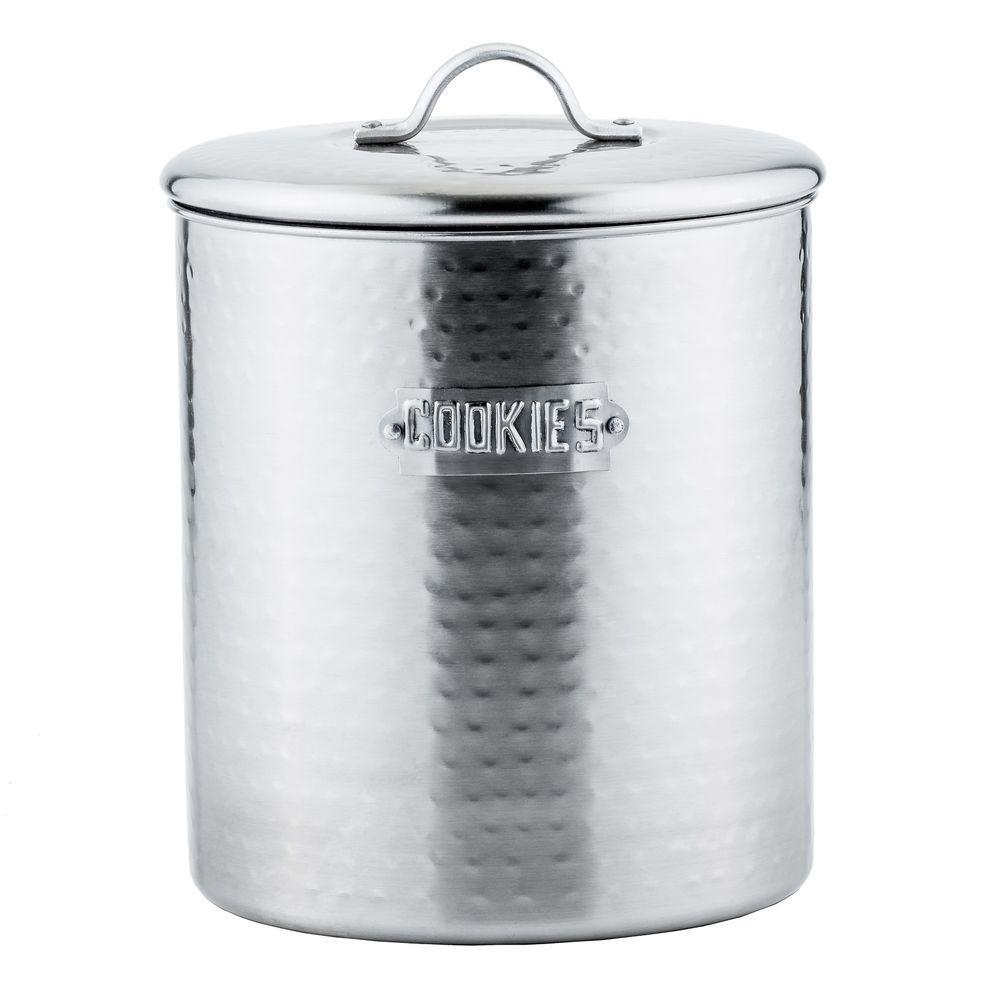 4 qt. Hammered Cookie Jar in Brushed Nickel