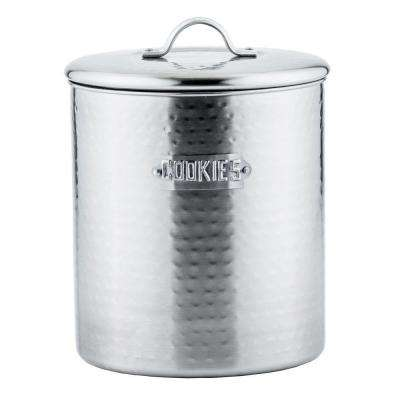 4 qt. Hammered Cookie Jar in Brushed Nickel