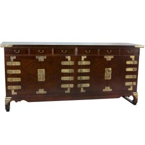 Oriental Furniture Walnut Korean Antique Style Double Cabinet Buffet