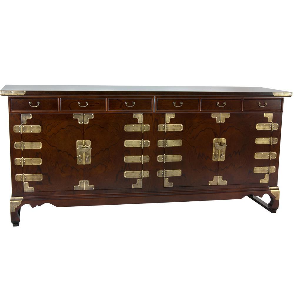 Oriental Furniture Oriental Furniture Walnut Korean Antique Style Double Cabinet Buffet