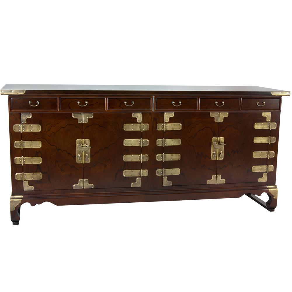 Oriental Furniture Walnut Korean Antique Style Double Cabinet Buffet Krn C 40 The Home Depot