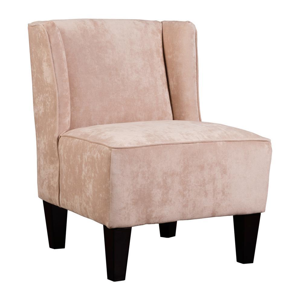 Charlie Rosedust Gold Winged Upholstered Slipper Chair